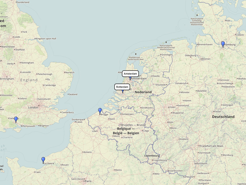 MSC Cruises Northern Europe 7-day route